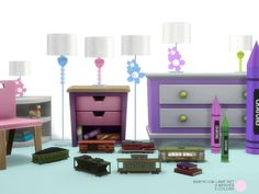 Baby Room Lamp Set. 9 Modern and Contemporary Lamp in 5 colors, with fabric Shades. Lighting by DOT of The Sims Resource.  Found in TSR Category 'Sims 4 Kids Bedroom Sets'