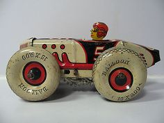 Marx Tin Litho Windup 5 Racer RARE Color Boat Tail Race Car with Balloon Tires