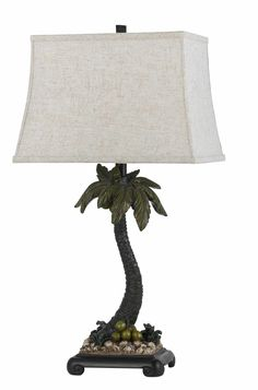 """Palm Tree 30.5"""" H Table Lamp with Square Shade"""
