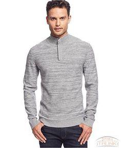 Alfani Men's Solid Quarter-Zip Sweater, Flint Heather Marl, S