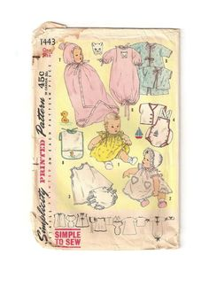 1952 Vintage Sewing Pattern Infant Layette One by EclecticEmbrace