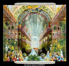 Image of christmas card in the form of a cut-out depicting the interior of the main hall of the crystal palace. london, england, century by V&A Images Exhibition Building, Exhibition Space, Vintage Christmas Images, Vintage Images, Victorian Christmas, Tunnel Book, Photo Maps, My Cup Of Tea, Crystal Palace