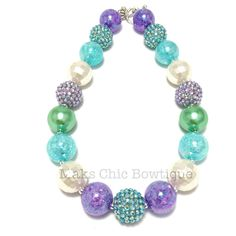 Toddler or Girls Purple, Turquoise, Ivory and Sea Green Rhinestone Chunky Necklace, Mermaid Princess Chunky necklace, Girls chunky Necklace by MaksChicBowtique on Etsy https://www.etsy.com/listing/249035918/toddler-or-girls-purple-turquoise-ivory