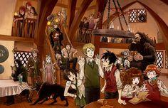 Harry Potter Series with:  Bill Weasley, Charlie Weasley,  Draco Malfoy, Fred Weasley,  George Weasley,  Ginny Weasley,  Hagrid, Harry Potter, Hermione Granger,  Lucius Malfoy,  Luna Lovegood, Narcissa Malfoy,  Neville Longbottom,  Pansy Parkinson,  Remus Lupin,  Ron Weasley,  Severus Snape,  Sirius Black