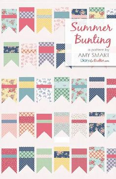 Summer Bunting quilt pattern by Amy Smart featuring Notting Hill fabric collection Easy Sewing Projects, Sewing Hacks, Sewing Tips, Bunting Pattern, Quilt Patterns, Amy Smart, Fat Quarter Projects, Fat Quarter Quilt, Notting Hill