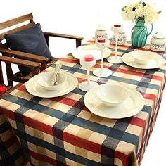 """Tablecloth Pure Cotton Edinburgh Plaid European Elegant Color Design Style Kitchen Table Cloth Dining Table Cover for Home Hotel Wedding Party Coffee Table Decoration (140x180cm(55""""x71""""))"""