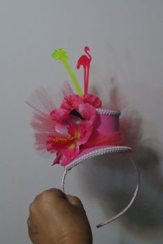 Pink  Flamingo Cocktail MINI TOP Hat tropical in by fabsfaeries, $34.99