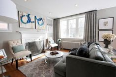 Transitional Gray Living Room With Charcoal Sofa