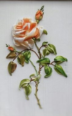 Wonderful Ribbon Embroidery Flowers by Hand Ideas. Enchanting Ribbon Embroidery Flowers by Hand Ideas. Ribbon Flower Tutorial, Ribbon Embroidery Tutorial, Silk Ribbon Embroidery, Hand Embroidery Patterns, Embroidery Kits, Vintage Embroidery, Embroidery Stitches, Embroidery Saree, Embroidery Supplies