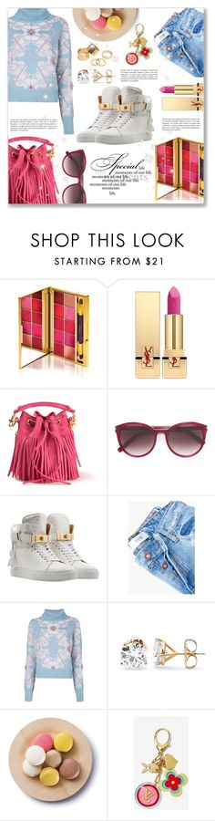 """""""Something colorful & cheerful :)"""" by dressedbyrose ❤ liked on Polyvore featuring By Terry, Yves Saint Laurent, BUSCEMI, MANGO, Barrie, Cultural Intrigue, Louis Vuitton and Pieces"""