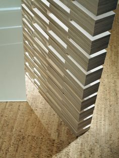 Wall of stacked Baltic Birch plywood in a home in Chicago, Illinois by Studio IDE