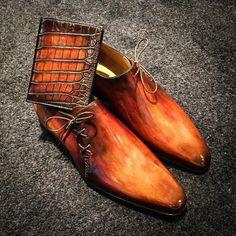 Artisans Bottiers — Matching patina on different type of leather. Me Too Shoes, Men's Shoes, Shoe Boots, Dress Shoes, Shoes Men, Gentleman Shoes, Best Shoes For Men, Mens Boots Fashion, Designer Clothes For Men