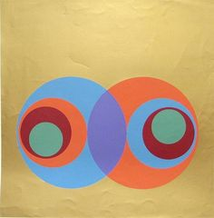 Herbert Bayer - Complementary with Gold, from A Series of Eight Screenprints; Creation Date: 1970; Medium: Color silkscreen printed on wove paper;...