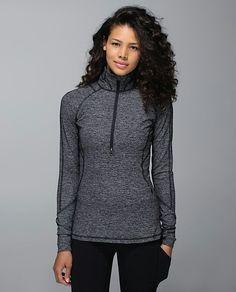 Lululemon Race Your Pace 1/2 Zip $98 Wee Stripe Black Heathered Black ~