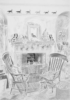 """""""Front Room at by Emily Sutton, 2015 (pencil) Illustrations And Posters, Vintage Illustrations, Museum Of Childhood, Interiors Magazine, World Of Interiors, Inspirational Artwork, Bird Sculpture, Color Pencil Art, Dream Rooms"""
