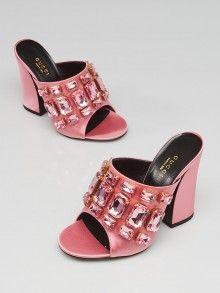 a1d8c1f8770 Gucci Carmine Rose Satin Bejeweled Open Toe Mule Sandals Size 5 35.5 Open  Toe Mules