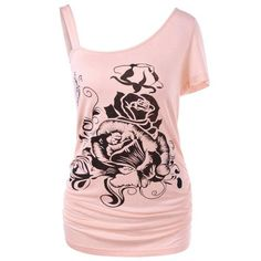 #RoseWholesale - #Rosewholesale Plus Size One Shoulder Floral T-Shirt - AdoreWe.com
