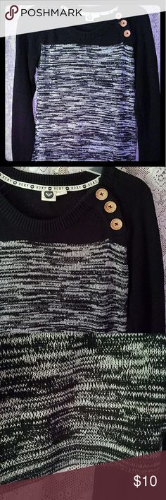 Black & Gray knit Roxy Sweater Dress Black and gray even more beautiful than the pictures, knee length and not to thick with wood buttons Roxy Dresses