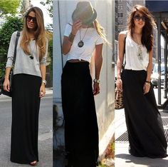 summer outfits with long skirts 50 best outfits Anziehen Long Black Skirt Outfit, Maxi Skirt Outfit Summer, Long Skirt Outfits For Summer, Maxi Skirt Outfits, Black Dress Outfits, Maxi Dresses, Long Skirt Fashion, Maxi Skirt Black, Mode Outfits