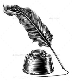royalty free vector of a black and white feather quill pen
