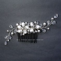 White Swarovski Pearl Floral Bridal Hair Comb - Off White Light Cream Silver Wedding Hair Accessories for Bride