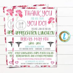 Nurse Appreciation Luncheon Invitation | TidyLady Printables