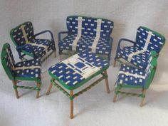 Vtge-1950-60-SALON-POUPEE-SCOUBIDOU-Design-Modernist-Mid-Century-Complet-Barbie