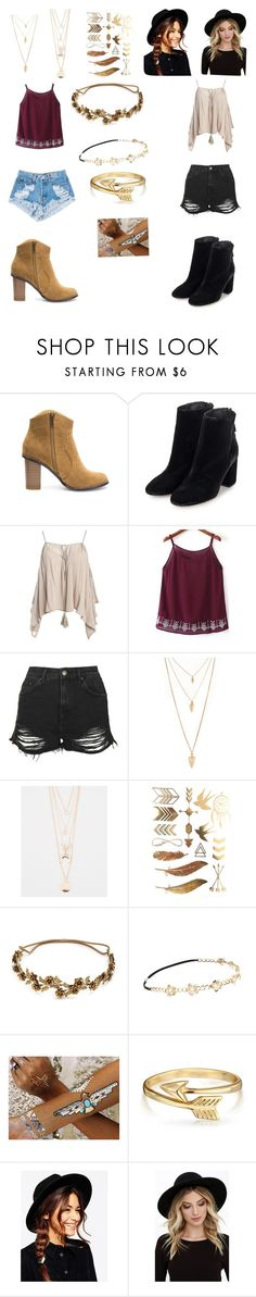 """""""Coachella"""" by gabriellemv ❤ liked on Polyvore featuring Topshop, Sans Souci, Levi's, Forever 21, Full Tilt, Jennifer Behr, Chicnova Fashion, Flash Tattoos, Bling Jewelry and ASOS"""