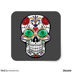 Skull Square Sticker #Skull #Bone #Skeleton #Flower #Rose #Holiday #Halloween #Sticker