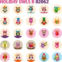 Free Printable Bottle Cap | Holiday Owls B 02062 - Bottle cap images 1,313 inch size - Kawaii ...