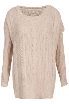 #Romwe Cable Knit Split Hem Cream Jumper