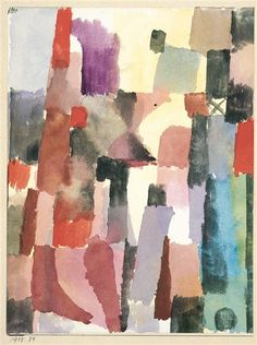 """Paul Klee  'Hochstrebende Stadtvision'  (Ambitious City Vision [my own translation g.s.] 1915  watercolor on paper  8.5 x 6.5"""""""