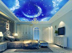 Fantasy Moon sky blue cloud ceiling 3d murals wallpaper for living room Wall Decoration Fresco Mural 3d wallpaper