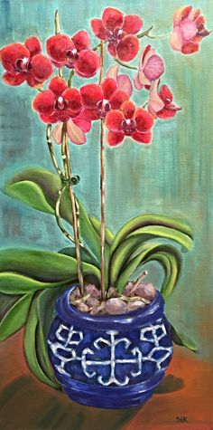 Orchids in Asian Pot Original Painting Oil Painting Phalaenopsis in Bloom Blue and White by Sue Killingsworth 12 x 24 Orchid Gardening by SueKillingsworthArt on Etsy