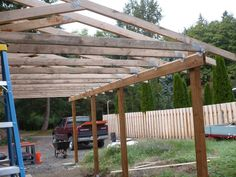 How to build a timber lean to carport house pinterest for Carport landscaping ideas