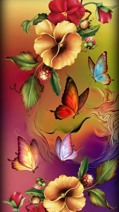 Flowers Fantasy - All About Flower Phone Wallpaper, Butterfly Wallpaper, Colorful Wallpaper, Cellphone Wallpaper, Beautiful Flowers Wallpapers, Beautiful Butterflies, Cute Wallpapers, Butterfly Painting, Butterfly Art