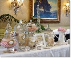 Lolly buffet in pink and cream with a vintace french paris theme