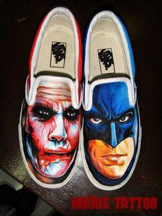Joker and Batman shoes by crackroach.