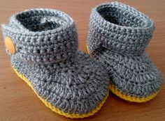 Crocheted Baby Booties Baby Boots Baby Mary by BeautiWoolTreasures