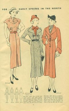 McCall Style News, February 1936 featuring McCall 8628, 8606 and 8607