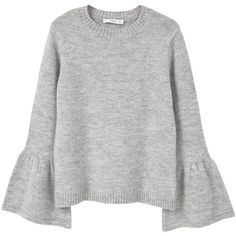 Flared Sleeves Sweater (350 SEK) ❤ liked on Polyvore featuring tops, sweaters, jumpers, pulls, long sleeve tops, knit jumper, long sleeve knit sweater, knit top and long sleeve knit tops