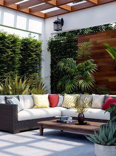 ideas garden patio decor outdoor rooms for 2019 Terrace Design, Backyard Garden Design, Outdoor Patio Designs, Outdoor Decor, Home Deco, Design Exterior, Outdoor Living Rooms, Home Interior, Interior Decorating