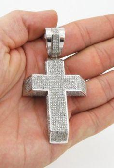 Mens 10k White gold 3.7ctw Pave Set Diamond Cross £8,358.00