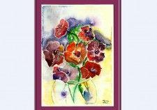 Bouquet d'Anémones. Aquarelle à vendre 40e