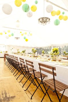 Spring yellow tented reception