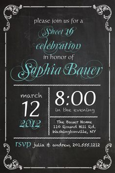 VINTAGE BLACKBOARD Poster Sweet 16 Birthday Invitation DIY, Printable, you print. $15.00, via Etsy.