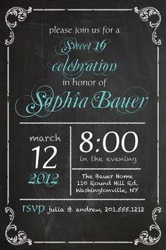 VINTAGE BLACKBOARD Poster Sweet 16 Birthday Invitation DIY, Printable, you print. $15.00, via Etsy.