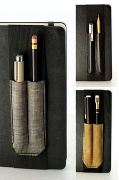 Holster Journal Bandolier // Hold your pens in place // (a better pencil case, journal pen holder, book strap, pen loop, pen bandolier) Cool Pencil Cases, Bullet Art, Best Pencil, Fabric Journals, Decorate Notebook, Leather Books, Pen Case, Leather Projects, Book Binding