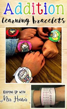 """Addition Bracelets - Addition Learning Bracelets Let your students learn their addition facts with these fun Addition Bracelets. Students can pick the """"watch"""" or """"bracelet"""" of their choice and color. Then solve the addition facts. When they wear the brac"""