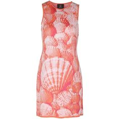 Ekaterina Kukhareva - Seashell Dress ($385) ❤ liked on Polyvore featuring dresses, loose fitting dresses, sleeveless dress, rose dress, red sleeveless dress and loose dresses